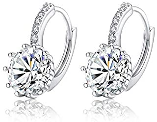 Platinum Plated Round Hoop Earrings with AAA Zircon For Women Jewelry Gift