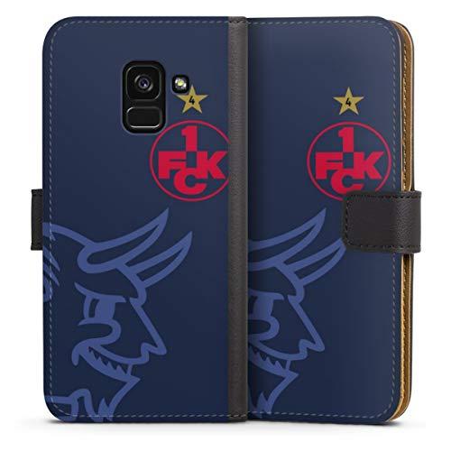 DeinDesign Klapphülle kompatibel mit Samsung Galaxy A8 Duos 2018 Handyhülle aus Leder schwarz Flip Hülle 1. FCK 1. FC Kaiserslautern Logo