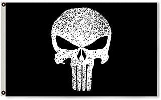 Flylong Punisher Skull Flag Banner 3X5 Feet Black