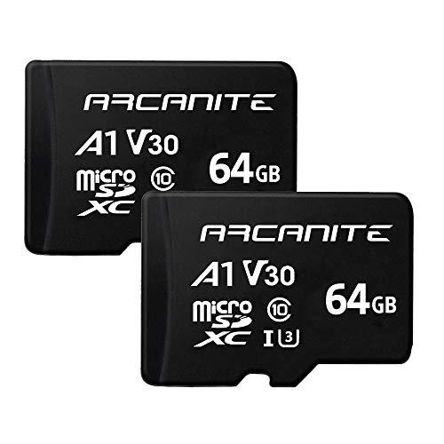 ARCANITE, set da 2 schede di memoria microSDXC 64 GB, UHS-I U3, A1, V30, 4K, C10, MicroSD - AK2PV30A164