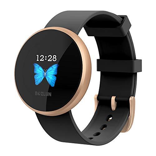 LIEBIG Smartwatch Damen, Fitness Armband Fitness Tracker Smart Watch IP68 Wasserdicht Fitness Uhr mit Pulsuhren Schrittzähler Armbanduhr Sportuhr für iOS Android1 (schwarz)