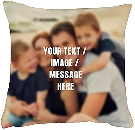 Getagift Personalised Cushion with your own Text/Image/Any Name themed Cushion Cover-Throw Pillow Cover. (45 cm x 45 cm Linen Cushion Cover)
