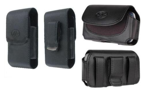 FYL 2x Black Leather Case Pouch Belt Holster for Net10/Total/Tracfone LG 237C LG237c