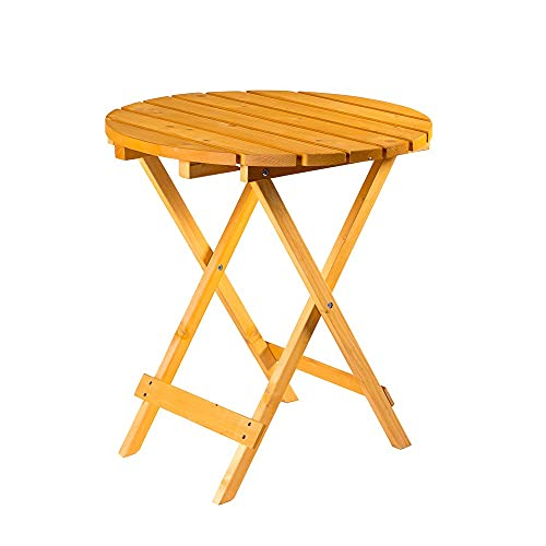Round Folding Wooden Garden Table - Foldaway Garden Coffee Side Table Suitable for Indoor and Outdoor Use - Ideal for Garden, Patio, Bistro, Dining, Drinks and More