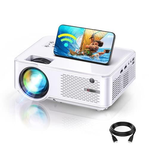 WiFi Mini Beamer, BOMAKER 7000 Lumen Native 720P Full HD Heimkino Wireless Beamer, Max. 300'' Display, Unterstützt Dual HDMI und USB,VGA,AV,TV Stick Laptop, iOS/Android Smartphone Projektor (Silber)