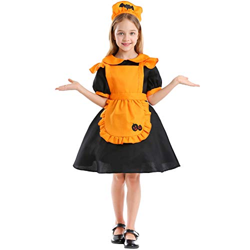 NIMIFOOL Disfraces para niños Material de Lana de algodón niña Naranja Traje de Linterna de Calabaza pequeña Bruja Familia de Padres e Hijos Adecuado para la Fiesta Escolar de Halloween Cosplay,S
