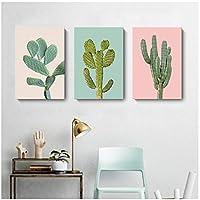 絵画 インテリア 緑のサボテン緑の植物のキャンバスの絵画ピンクの背景壁アート写真プリントポスターリビングルームの家の装飾19.7x27.6in(50x70cm)x3pcsフレームなし