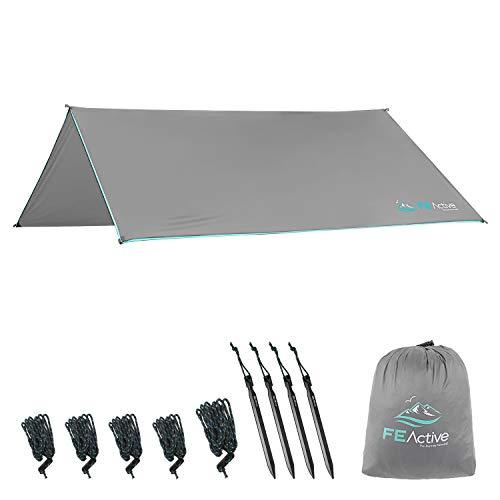 FE Active Lona Impermeable de Campaña - Toldo de Camping Portable 366 x 275cm 380T Ripstop de 5000 mm Impermeable Tarp Protectora de Lluvia, Sol y Viento. Ideal para Hamacas | Diseñada en California