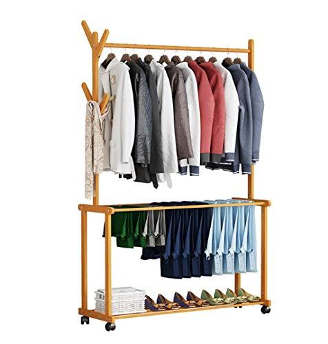 NDDDSD Coat Rack Vloerbedekking Rack Creatieve Woonkamer Bamboe Vloerhaak Slaapkamer Hanger Opslagrek (houtkleur)