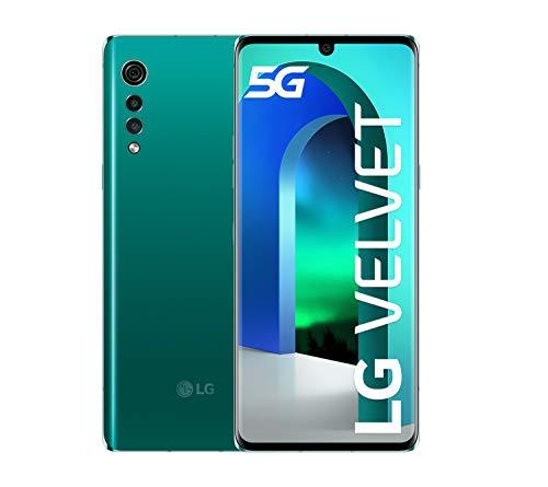 LG Velvet smartphone 5G con vetro ricurvo, Display OLED 6.8'', Sensore 48MP, Batteria 4300mAh con ricarica Wireless, IP68, 128GB/6GB, Android 10, Aurora Green [Italia]