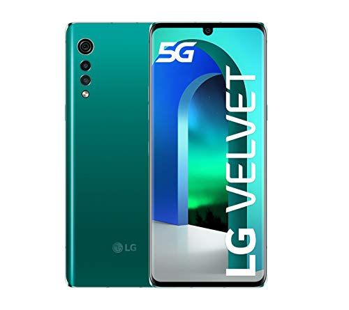 LG Velvet 5G smartphone with curved glass, 6.8 '' OLED display, 48MP sensor, 4300mAh battery with wireless charging, IP68, 128GB / 6GB, Android 10, Aurora Green [Italy]