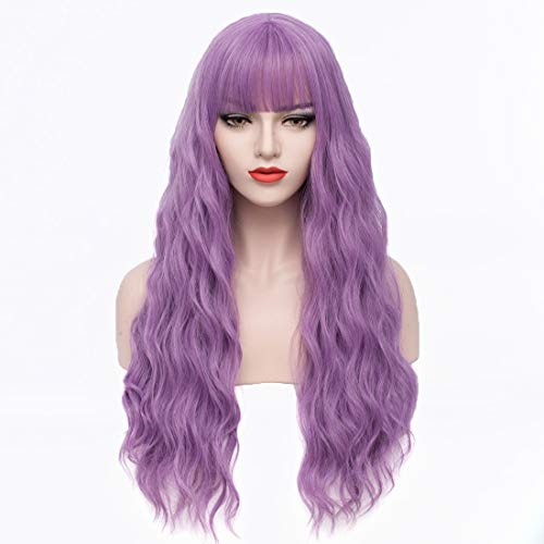 PATTNIUM Lavender Purple Wig Long Curly Wig with Bangs Wavy Purple Wig Women Girls Synthetic Wig Cosplay Party Costume Wig (Lavender Purple)