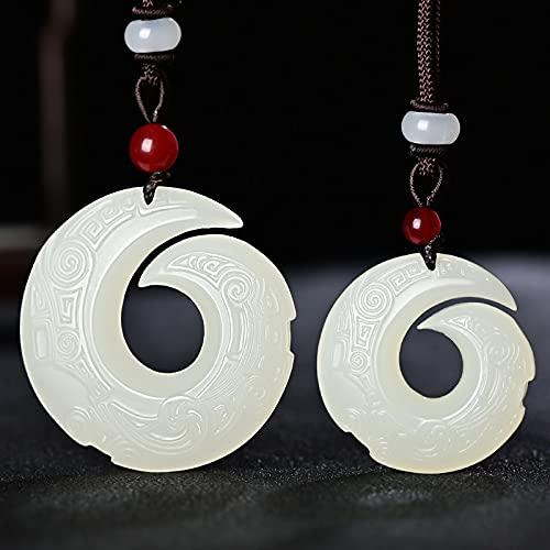 JIUXIAO Collar con Colgante de Jade Blanco Hetian Natural, Colgantestallados a Mano deJade, Collares de Jade, joyería de Jade para Mujeres y Hombres