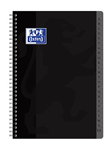 Oxford 100103166 Registerbuch - Doppelspirale, DIN A4 , 180 Seiten kariert (Farblich sortiert)