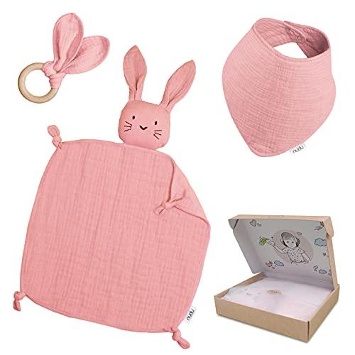 nudu Baby Geschenkset (3-teilig) - Schmusetuch, Lätzchen und Beißring - 100% Baumwolle Musselin Geschenk zur Geburt Mädchen & Junge in Rosa
