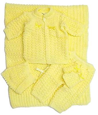 Newborn Baby Crochet Blanket 5 Piece Set Hat, Booties, Sweater, Pants (Yellow)
