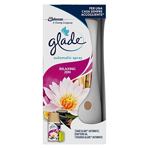 Glade Automatic Spray Base Con Ricarica, Fragranza Relaxing Zen - Formato Scorta - 1 Confezione Con 4 Erogatori + 4 Ricariche - 540 Gr