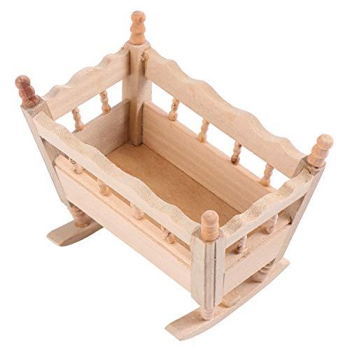 BESPORTBLE 1:12 Miniatur Baby Wiege Puppe Kinderbett Bett Puppenhaus Kinderzimmer Zubehör...