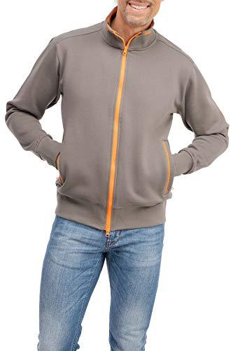 Happy Clothing Herren Sweatjacke sportlich ohne Kapuze - gestreifte Trainingsjacke - Sweatshirtjacke - Zip-Jacke Reißverschluss mit Kragen, Größe:L, Farbe:Anthrazit