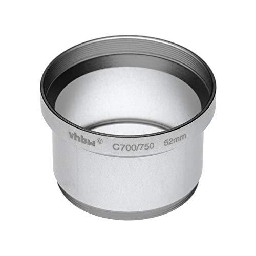 vhbw Adaptador de Filtro 52mm en Forma de Tubo para cámara Digital Reflex Objetivo Compatible con Olympus SP-500 UZ, SP-510 UZ- Plata