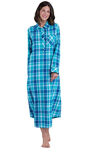 PajamaGram Nightgowns for Women Plaid - Flannel Nightgowns, Turquoise, XL, 16