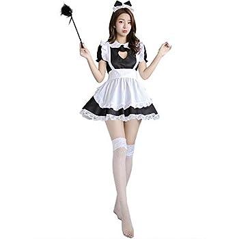 YOMORIO French Maid Uniform Sexy Cat Cosplay Lingerie Costume Cute Keyhole Nightwear Babydoll Black