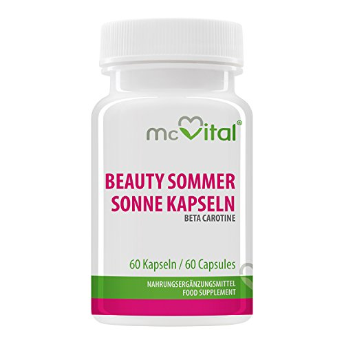 Beauty Sommer Sonne Kapseln - Beta Carotin 26933 IE -Sonnenschutzkapseln - Bräunungskapseln - 60 Kapseln