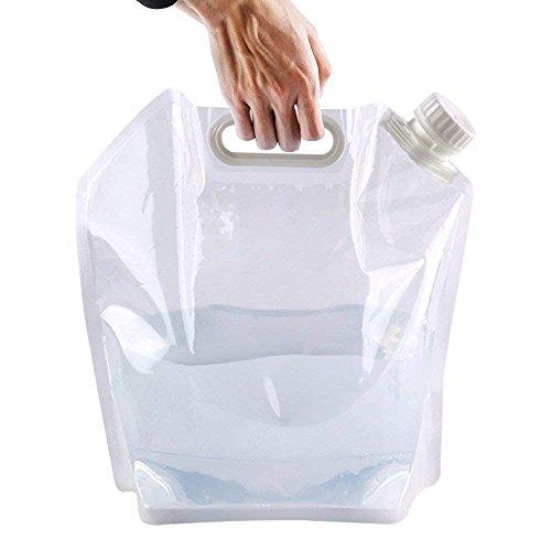 ying-xun borraccia d' acqua pieghevole borsa 5L pieghevole acqua serbatoio di contenitori di stoccaggio per campeggio, escursionismo, picnic barbecue pieghevole blu e trasparente, Transparent