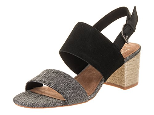 TOMS Women's Poppy Suede Sandal, Size: 8.5 B(M) US, Color: Black Suede/Chambray