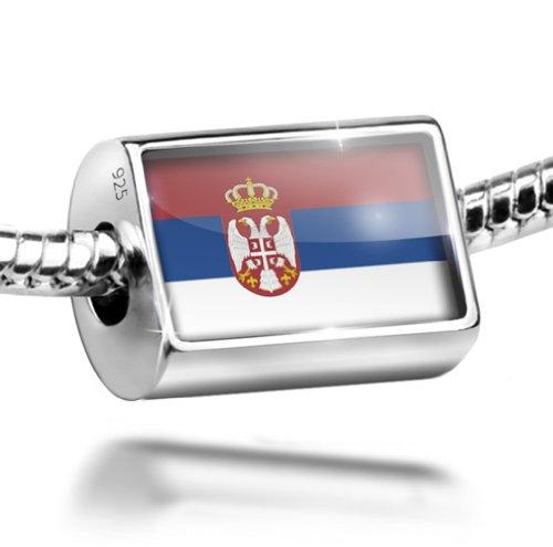 NEONBLOND Sterling Silver Bead Serbian Flag Charm Fits All European Bracelets