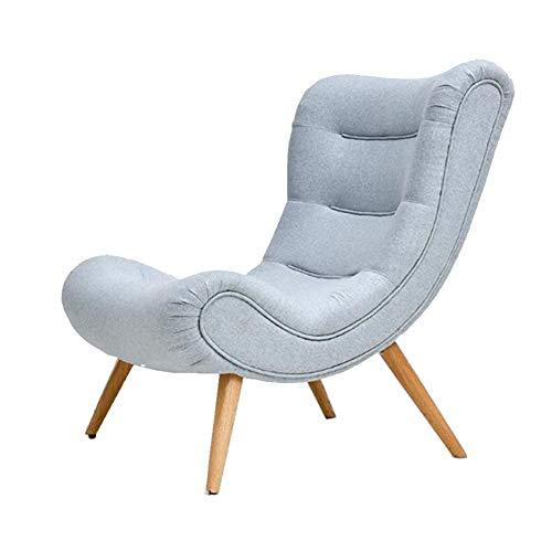 QIDI Simple Chaise, canapé Tissu, Chaise canapé en Bois Massif Nordique, Chaise Moderne et Minimaliste, Chaise Chambre, Chaise de Salon, Chaise Escargot, Chaise Longue Paresseux (Color : Sky Blue)