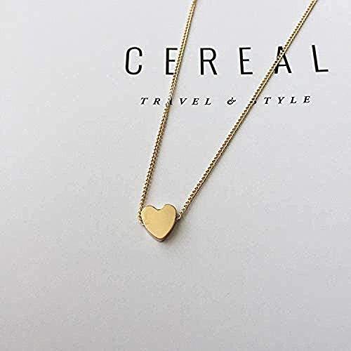 Yiffshunl Collar Collar Bohemio de Moda Collar de corazón Collar con Colgante en Forma de corazón en Forma de Cadena pequeña Collar de Agarre de garantía étnica