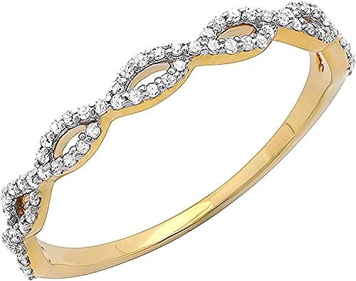 0.20 quilates, blanco natural, corte redondo, remolino, apilable, aniversario, anillos de alianza de boda para mujeres engastados en oro amarillo sólido de 14k (claridad I2, color HI) (tamaño 47)