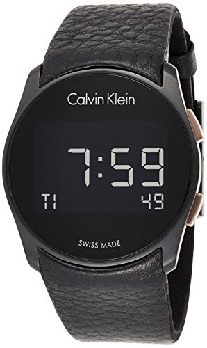 Calvin Klein Herren Digital Quarz Uhr mit Leder Armband K5B13XC1