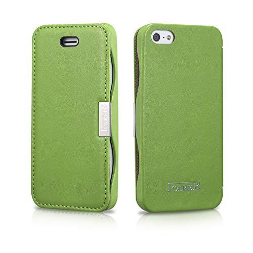 ICARER Tasche passend für Apple iPhone SE (2016), iPhone 5S und iPhone 5, Case Außenseite aus Echt-Leder, Schutz-Hülle seitlich klappbar, Ultra-Slim Cover, Grün