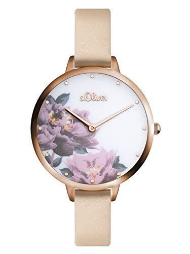 s.Oliver Damen Analog Quarz Armbanduhr mit PU Armband SO-3536-LQ