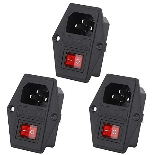 Interruptor de enchufe de alimentación de CA de 3 piezas, interruptor basculante de 4 pines,...