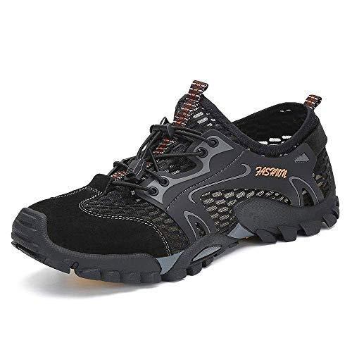Zapatillas de Agua para Senderismo para Hombre Zapatillas New Balance Zapatos para Hombre de Secado rápido Malla Ligera Transpirable Zapatos Impermeables para Correr al Aire Libre (43 EU, Negro)