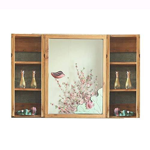 Badkameraccessoires Badkamer spiegelkast met opbergruimte deur home grote capaciteit kast balkon muur opslag medicijnkastje HD spiegel + rack (Color : Wood, Size : 100 * 60 * 13cm)