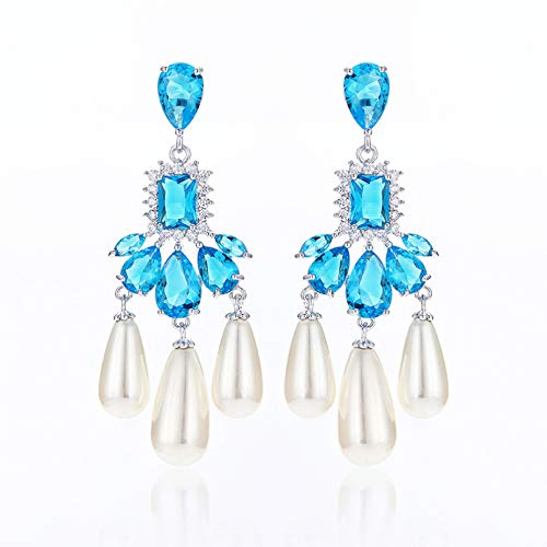 BAJIE Earring Long Pearl Earrings Brass Plated Handmade Covered With Luxury Cz Stone Jewelry Lady