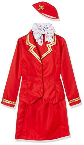 Smiffy's Smiffys-33873M Disfraz de azafata del Carrito, con Chaqueta, Falda, Bufanda y Gorro, Color Rojo, M-EU Tamao 40-42 33873M