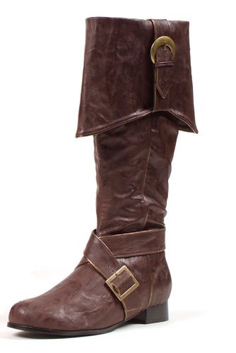 """Ellie Shoes Men's 1"""" Heel Knee High Pirate with Buckle décor Boots Sizes M BRWP"""