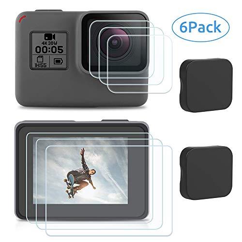 Masstimo Displayschutz Schutzfolie für GoPro Hero 7 (Schwarz) 2018 6 5, Sicherheitsglas Displayschutzfolie Schutzfolie Objektiv Schutz Objektivdeckel Zubehör, 6 Stück(3*Kamera+3*Bildschirm)