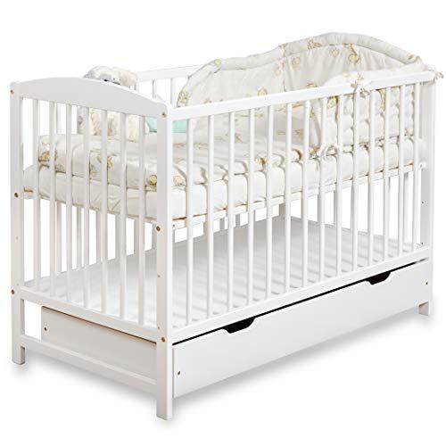 Gitterbett Babybett 2in1 60x120 mit Schublade Schlupfsprossen und Lattenrost Höhenverstellbar Umbaubar zum Juniorbett für Mädchen und Junge - Weiß