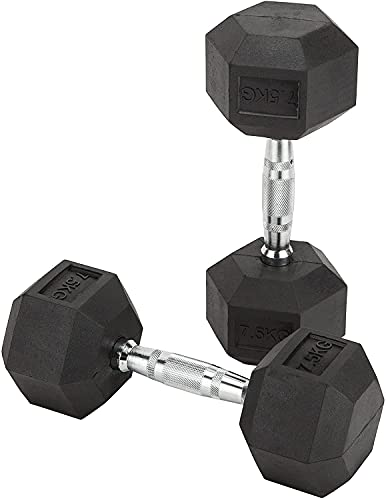 MART DEALS LTD® Dumbbell Set - Home Gym Hex Dumbbells Weights Set, Rubber Encased Cast Iron Weights for Men and Women, Professional Strength Training Equipment. 2 X 7.5kgs