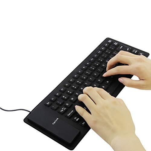 シリコンキーボードUSB有線折り畳み式巻き取り柔らかいシリコン製防水防塵静音設計英語配列85キー小型軽量携帯便利コンパクトUSB接続PC/ノートパソコン/コンピュータ用(ブラック)