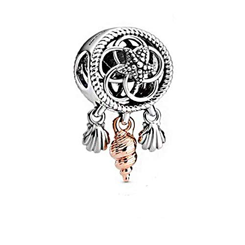 LILIANG Joyería De Bricolaje 925 Plata Esterlina Calada Concha Atrapasueños Abalorios Se Ajustan A Las Pulseras Originales De Pandora para Mujer