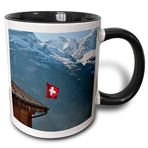 N\A Mug_82627_4 'Flagge, Berge, Mürren, Jungfrau, Schweiz - EU29 MDE0022 - Michael DeFreitas' Zweifarbiger schwarzer Becher, Mehrfarbig