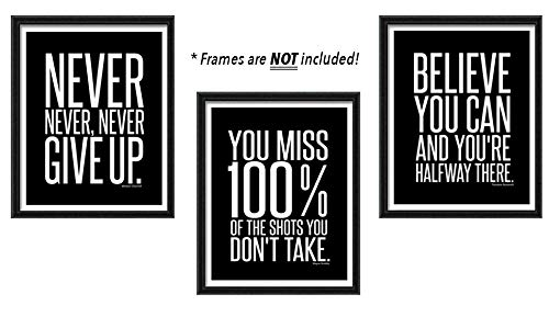 Motivational Inspirational Famous Quotes Teen Boy Girl Sports Wall Art Posters Decorative Prints Black White Workout Fitness Wall Decor Home Office Business Classroom Dorm Gym Entrepreneur (8 x 10)