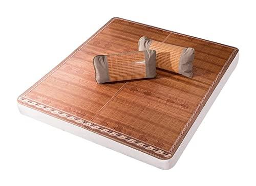 PLMOKN Bambú de la estera for dormir de verano, tapete de colchón de doble cara transpirable plegable, almohadilla de enfriamiento duro de rollo for una cama doble individual (color: marrón, tamaño: 1